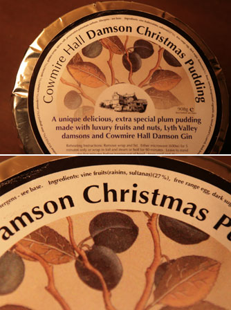 damson gin christmas pudding